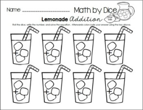 Math By Dice - Lemonade Addition 2