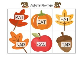 autumn rhyming cards_short vowel