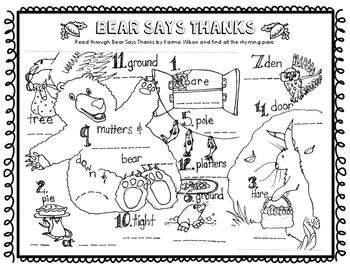 Bear Says Thanks Rhyming Pairs