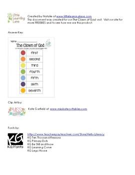 The CLown of God Ordinal Worksheet2