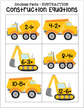 Construction Equations - Doubles Subtraction